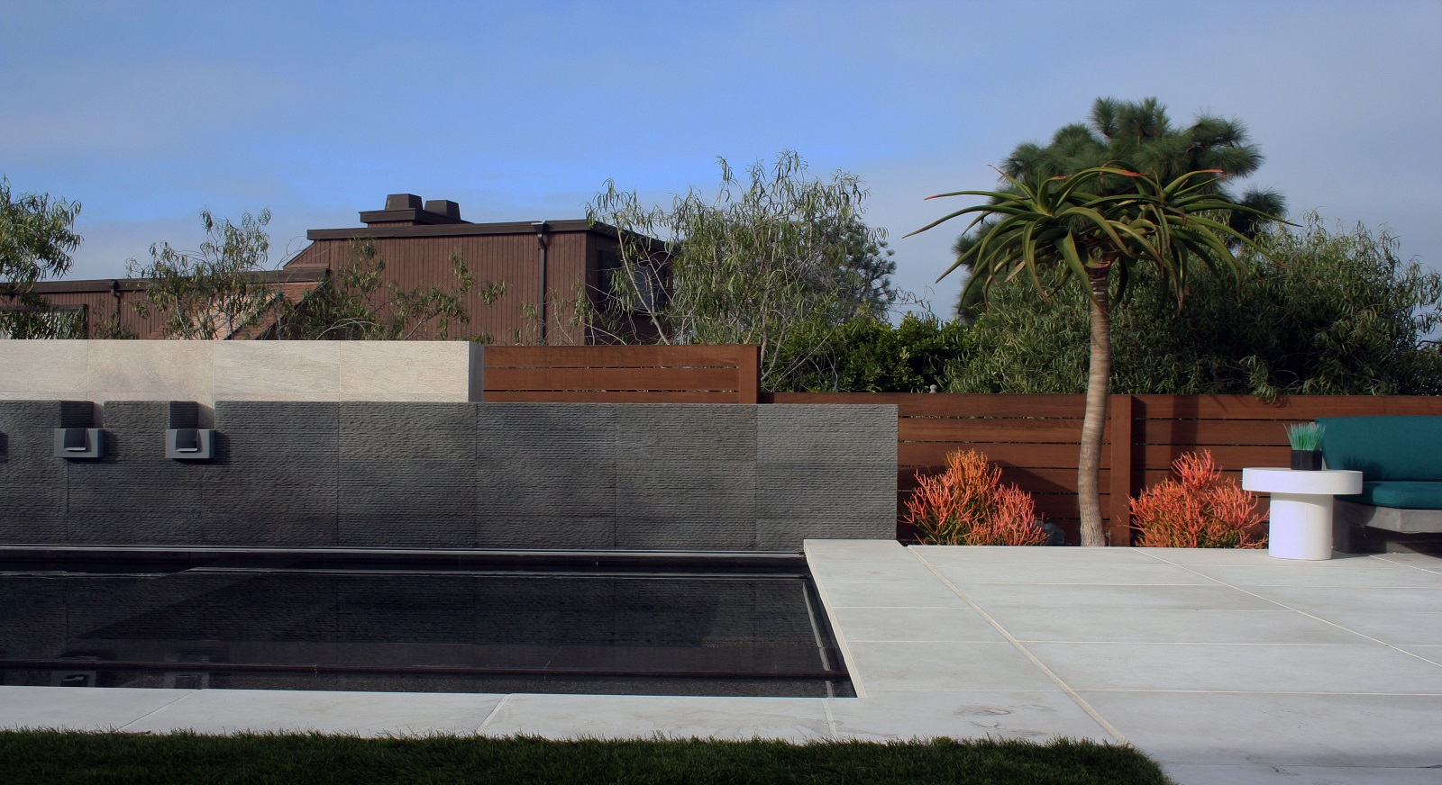 cross construction remodel landscape pool basalt fence spa hardscape