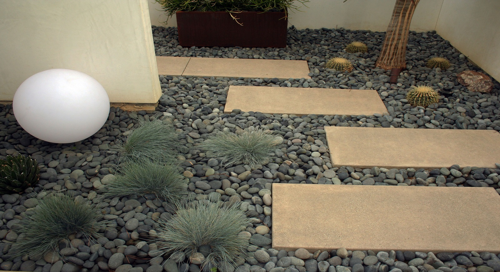 cross construction remodel landscape hardscape plants corten