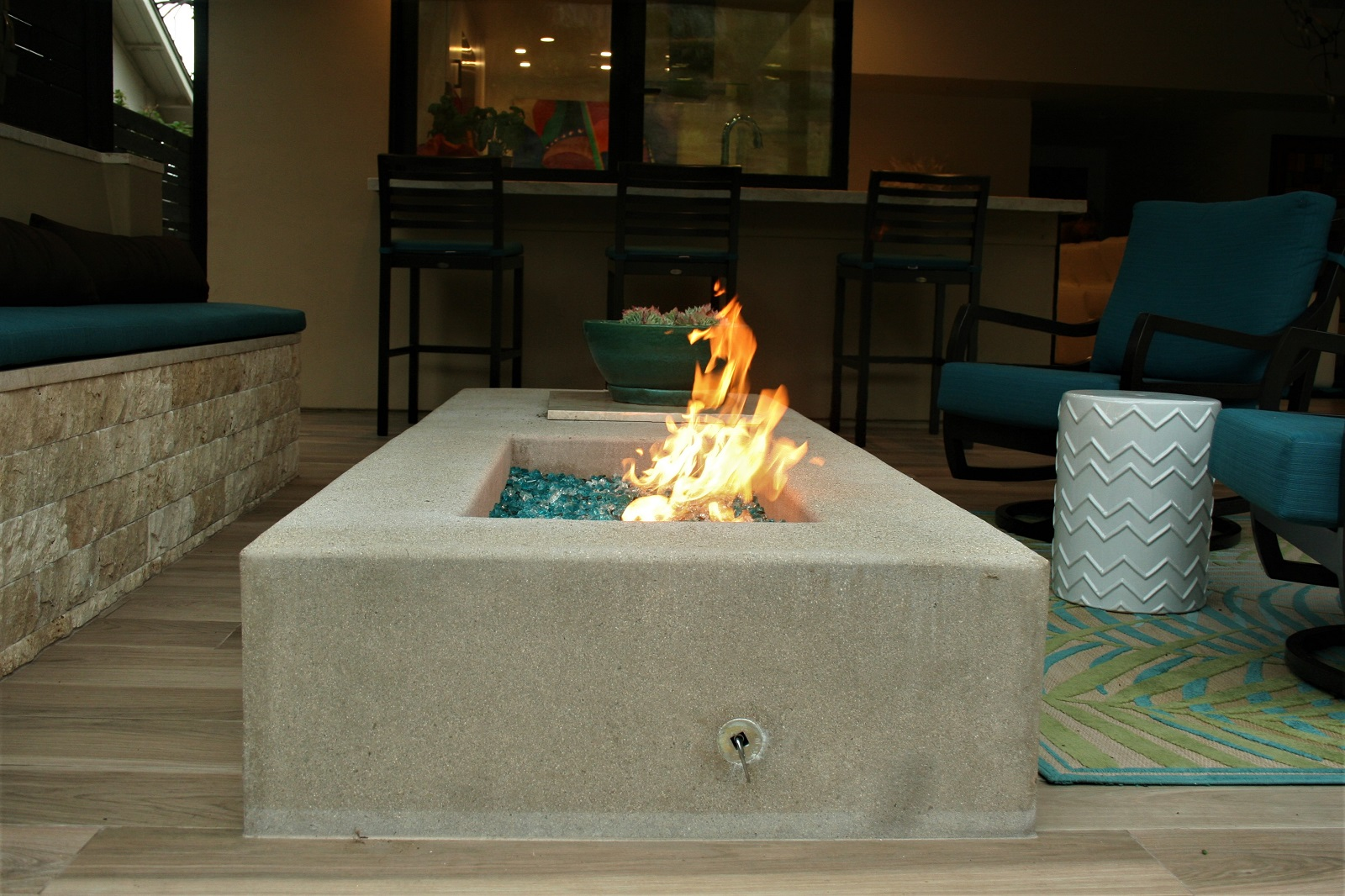 cross construction remodel contemporary fire element outdoor seating