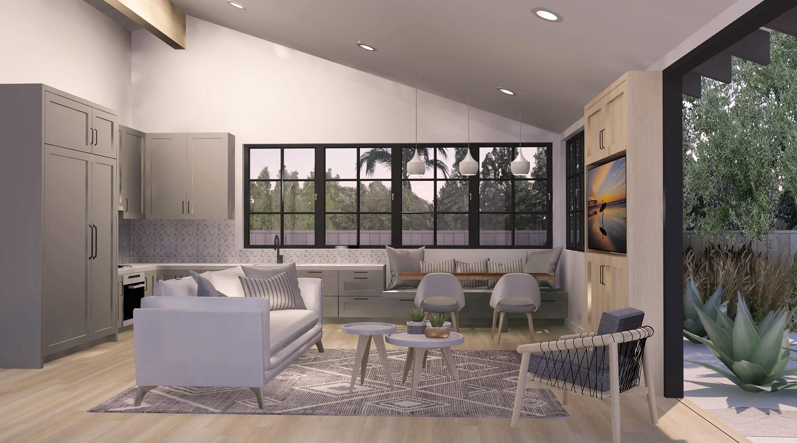 Cross Ready-to-Build_2bd-1ba_749 SF ADU kitchen rendering