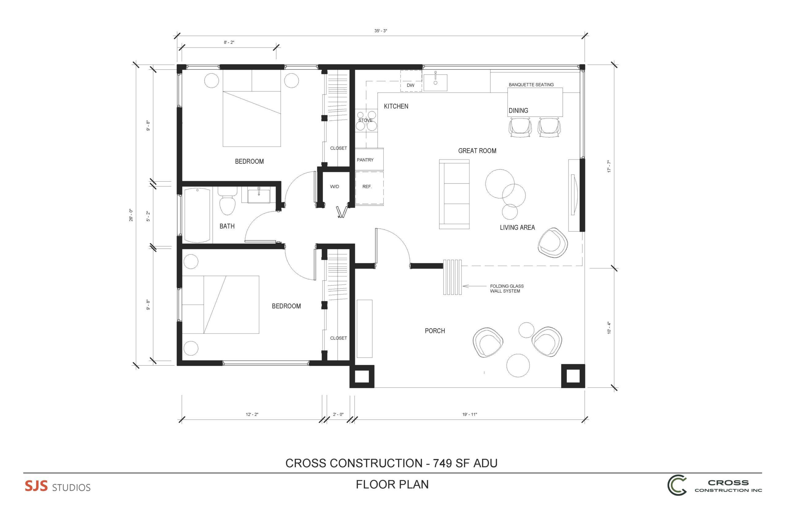 Cross Ready-to-Build_2bd-1bat_749 SF ADU floor plan